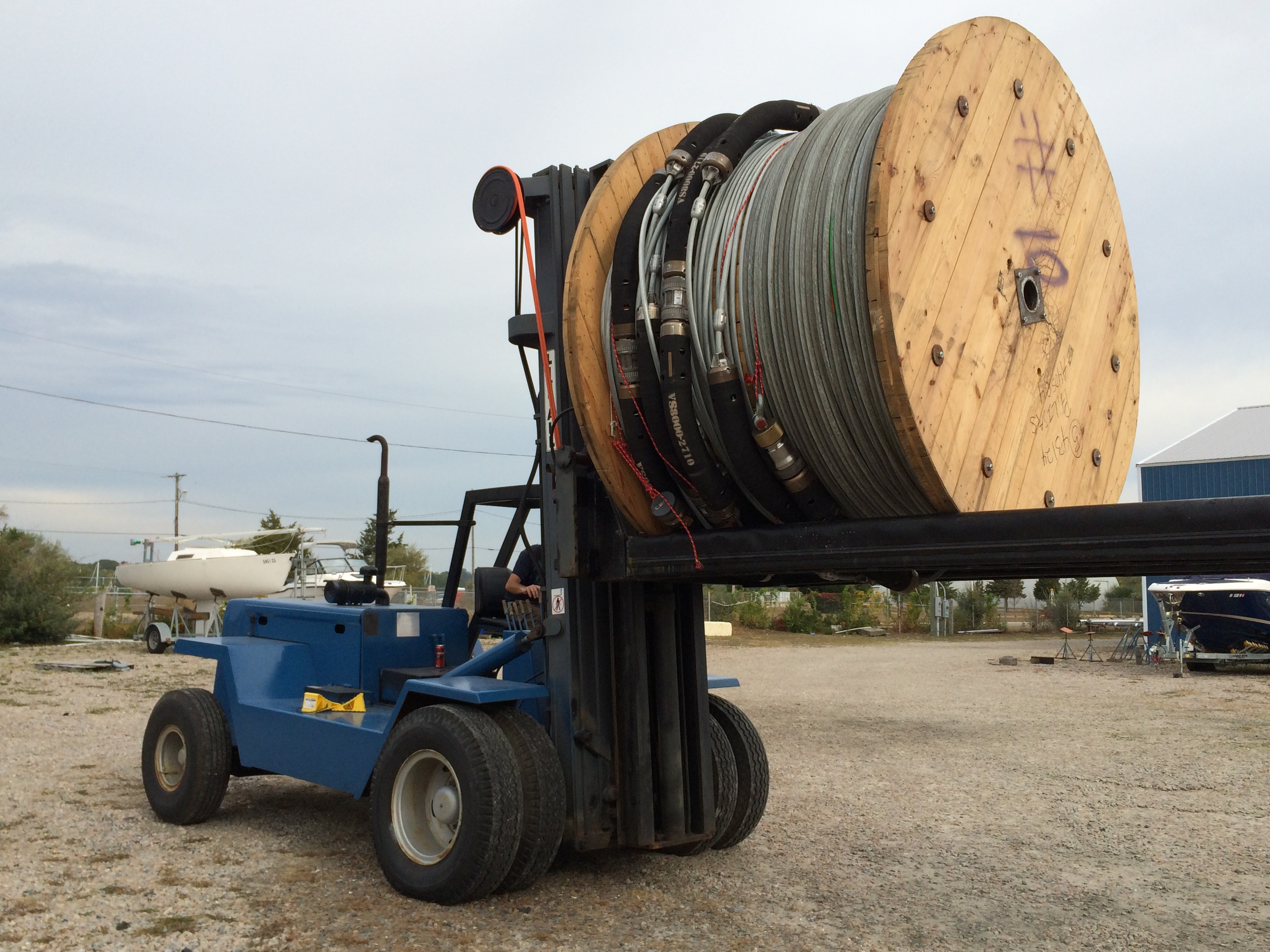 Loading cable spools for URI research project